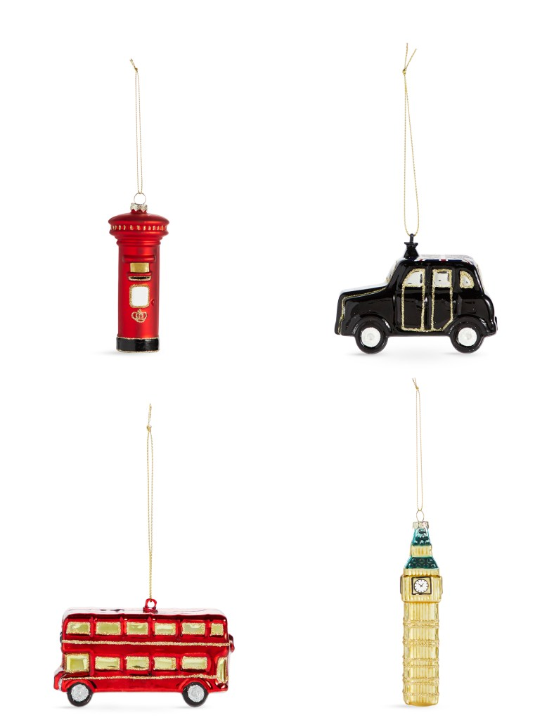 Gorgeous mouth blown glass London icon Christmas bauble set