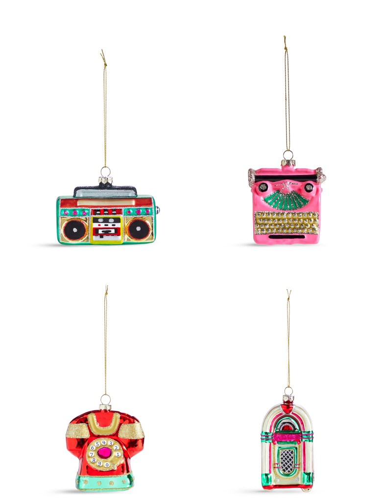 Liven up your Christmas tree with this set of novelty retro icons - from a typewriter and jukebox, to a boom box and dial telephone