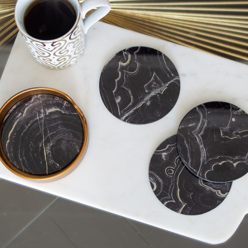 The perfect black marble coasters for a gothic Halloween party
