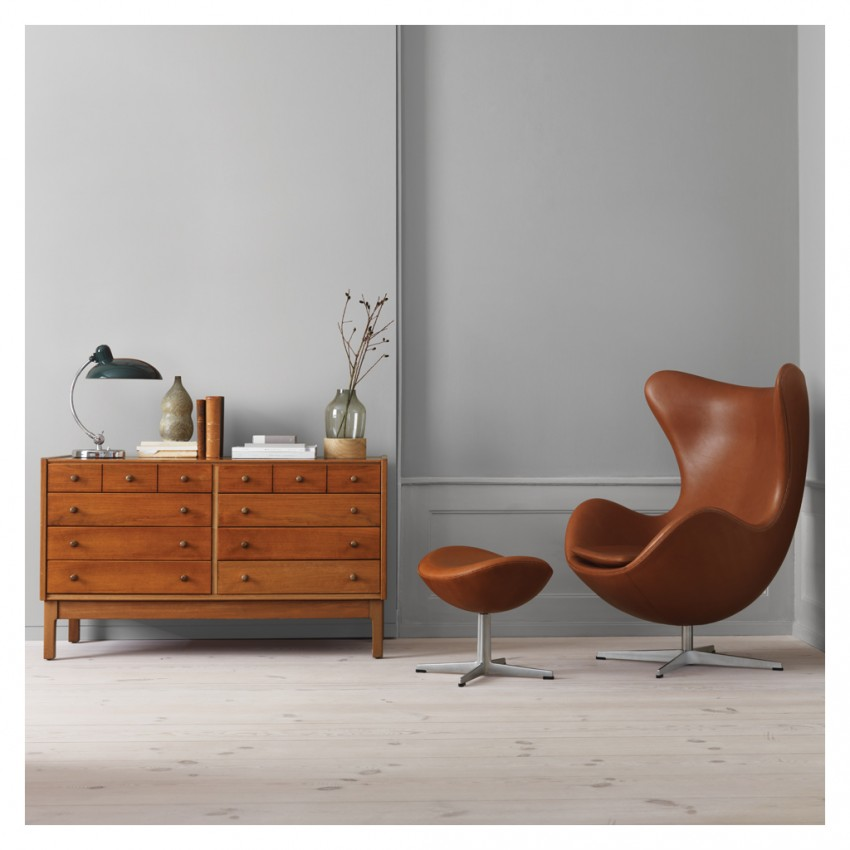 Iconic designer Egg Chair by Arne Jacobsen seen here in a stunning leather upholstery