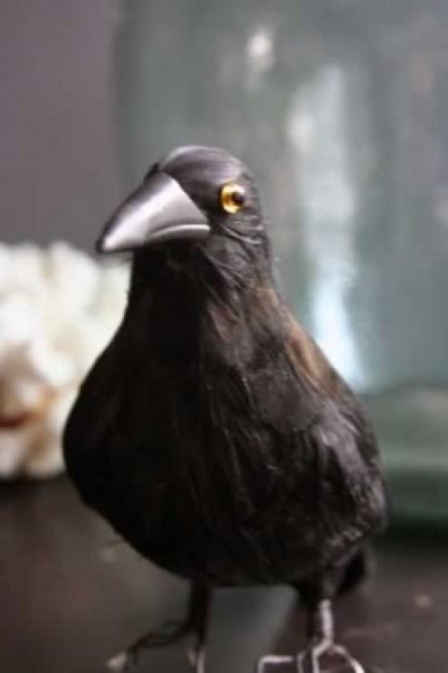 Artificial black crow for gothic home decor
