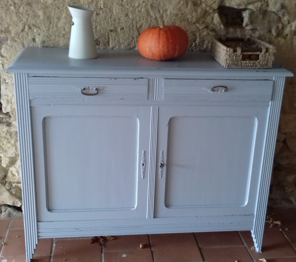 This cupboard has been painted and transformed using Valspar V700 premium blend paint