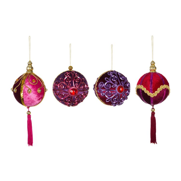 Colourful purple and red velvet baubles for a boho Christmas home