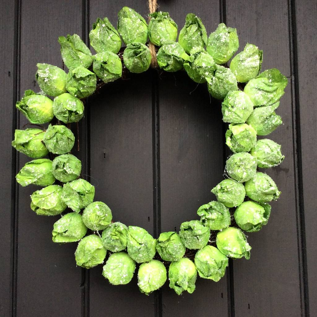 Hang this funky Brussel sprouts wreath decoration on your door this season