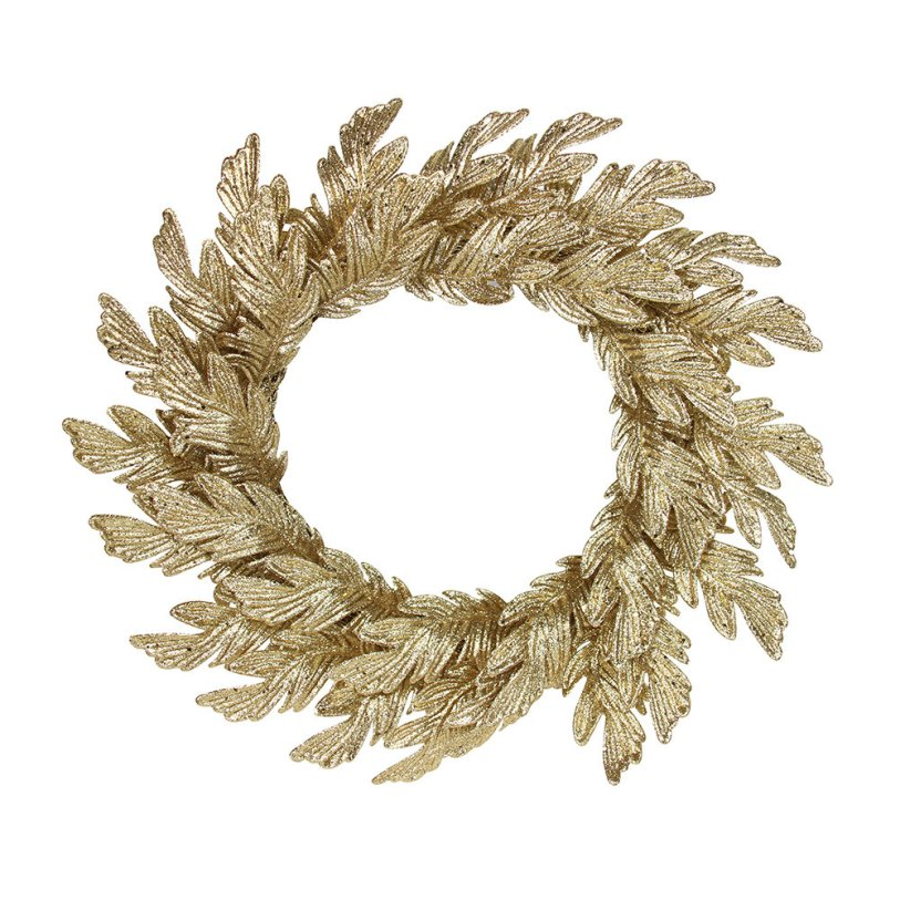 Champagne gold coloured oak leaf design seasonal Christmas wreath decoration