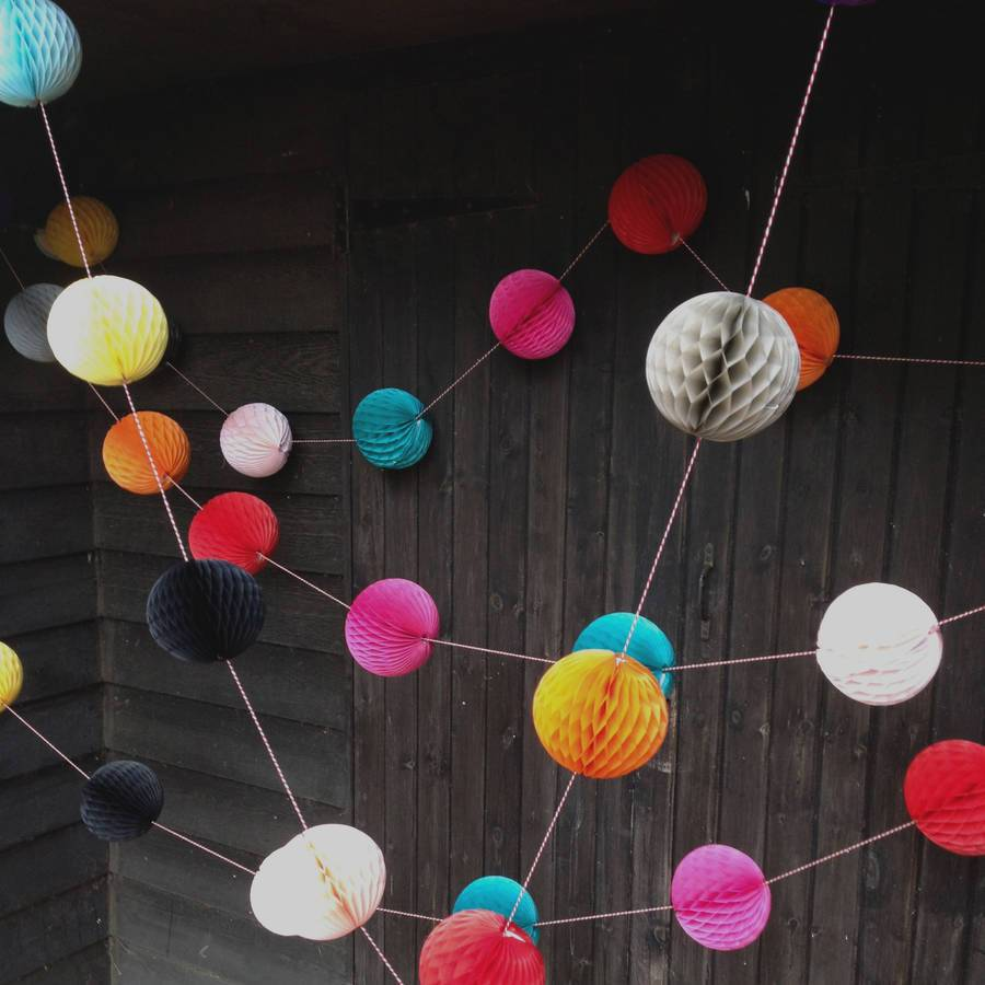 Boho style paper ball garland decoration