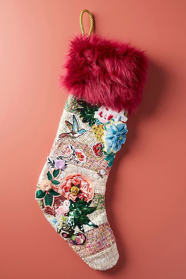 Beautiful alternative patchwork style Christmas stocking with lots of embellished details