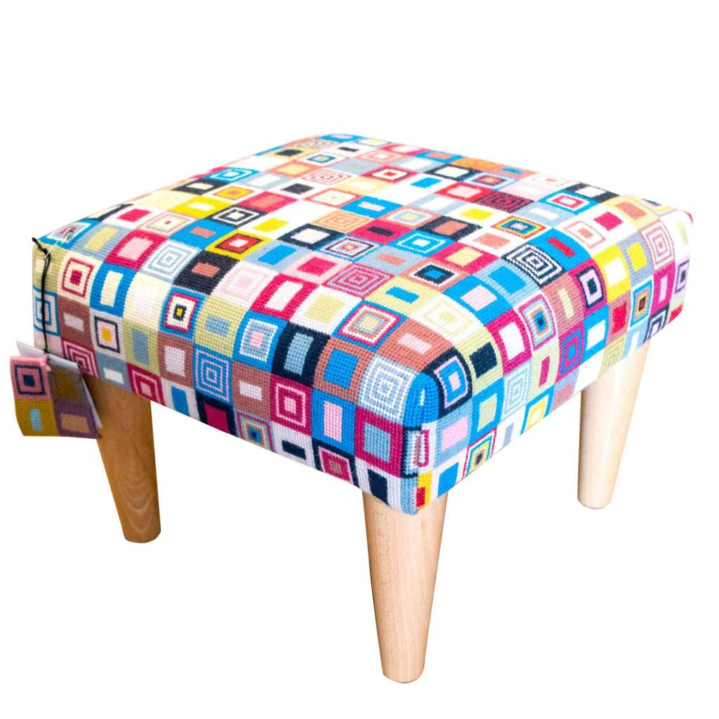 Love this hand stitched needlepoint geometric design footstool