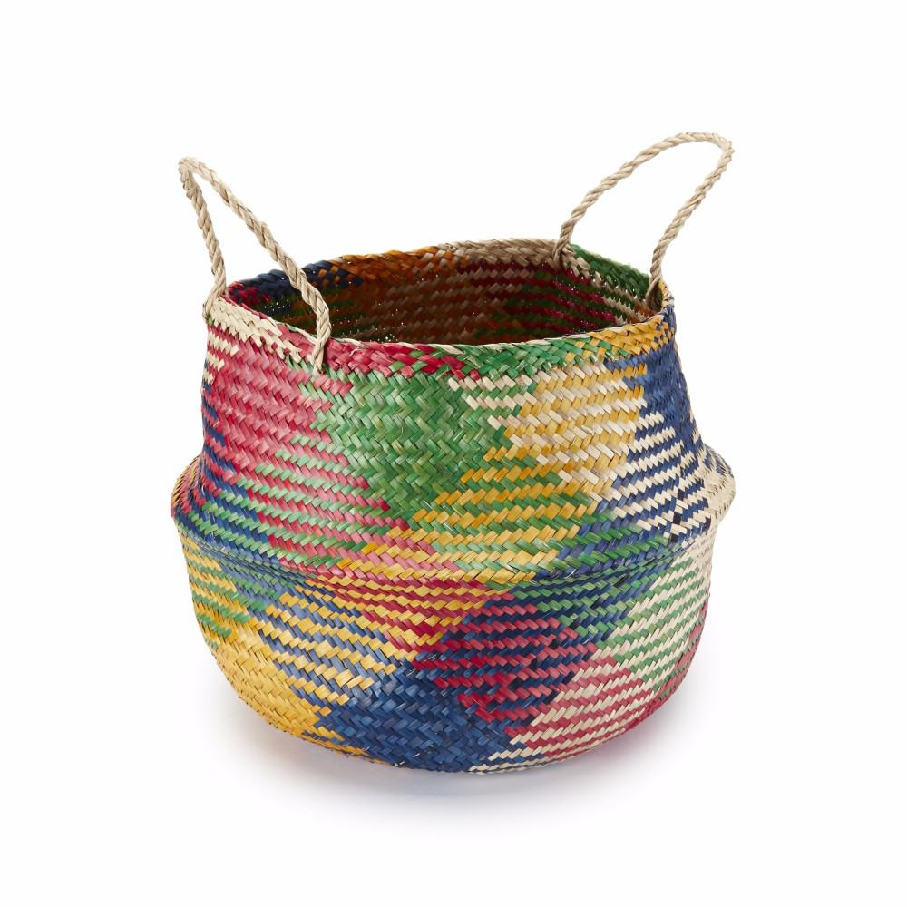 Gorgeous carnival colourful handmade seagrass basket