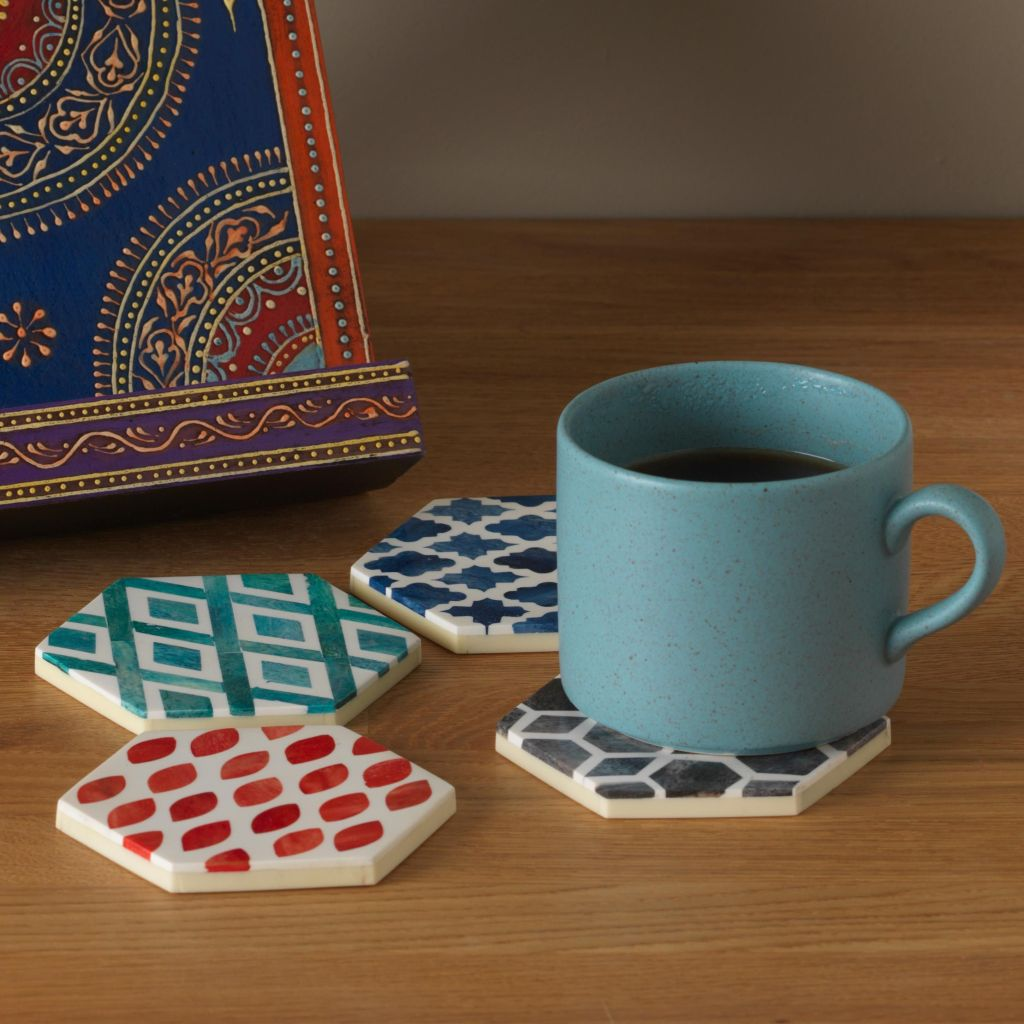 Lovely handcrafted hexagonal geometric design coasters