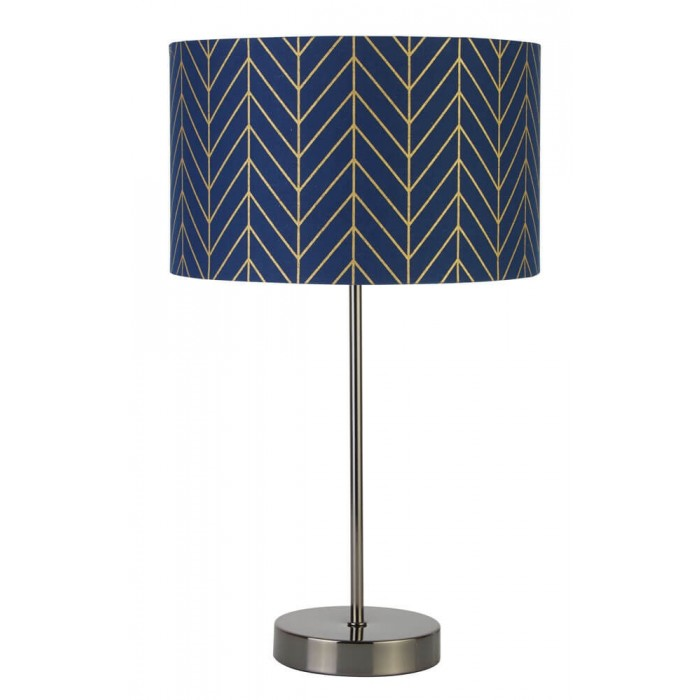 Contemporary gold table lamp with navy geometric design shad