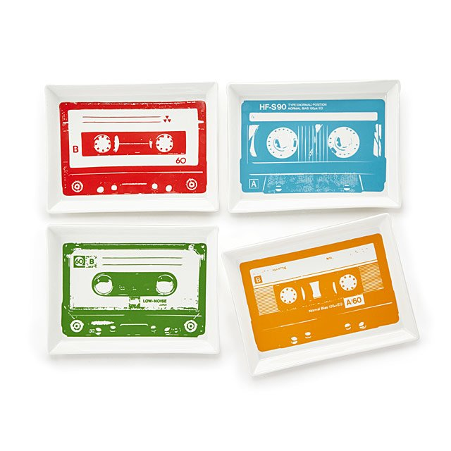 Love these colourful 80s mix tape design serving plates - a great talking point for parties