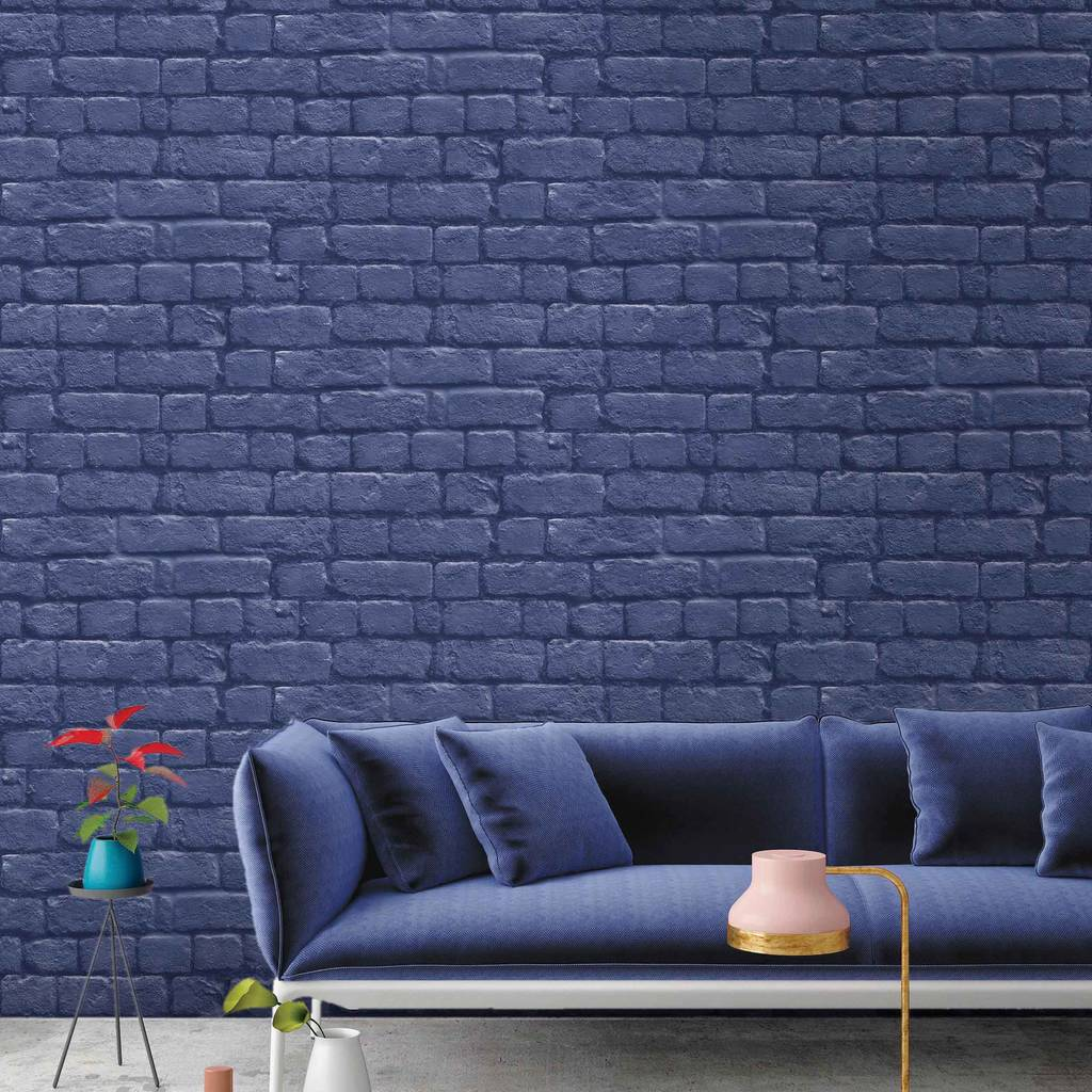 Faux brick design blue wallpaper for a contemporary home