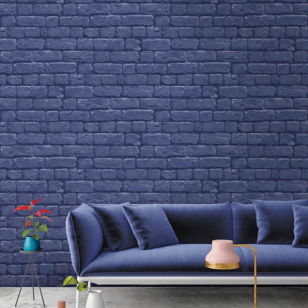 Faux brick design blue wallpaper for a contemporary home