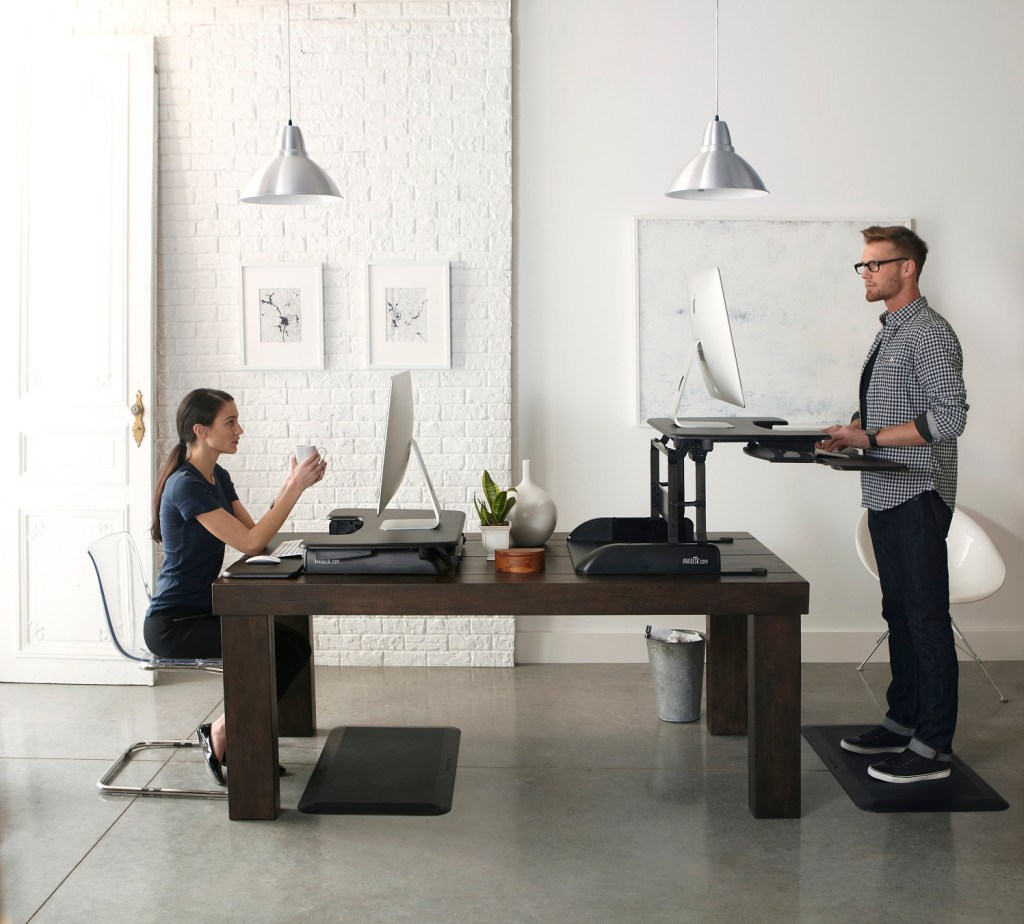 The Pro Plus 36 Varidesk lets you stand or sit at your desk