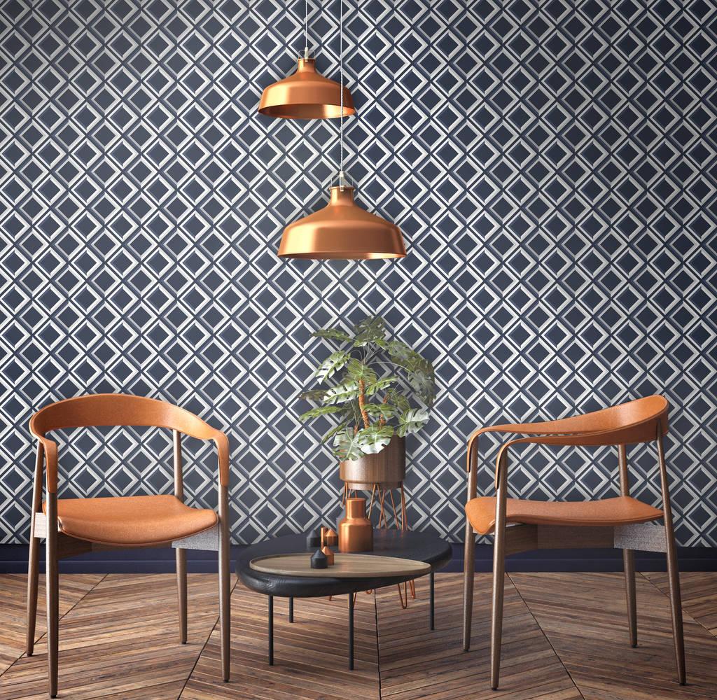 Surface Design geometric lattice 3d effect wallpaper printed in England