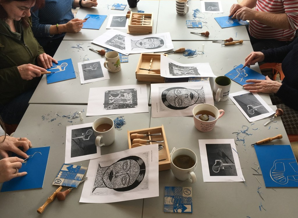 Lino printing workshop run by artist and designer Debbie Chessell