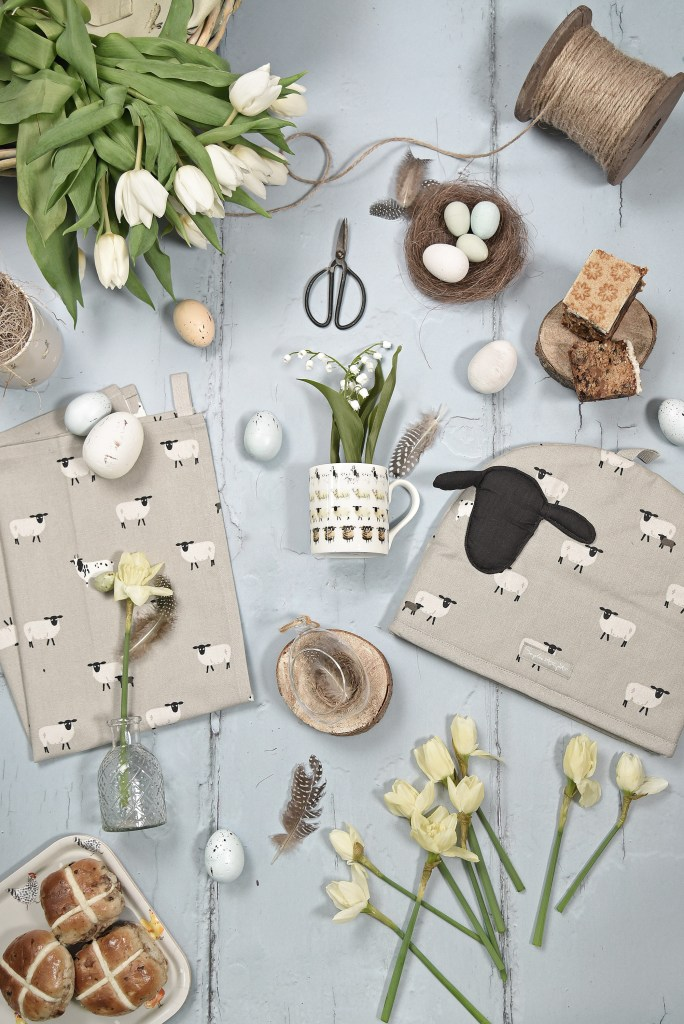 Easter table ideas from Sophie Allport include these quirky sheep design table linens - baa!