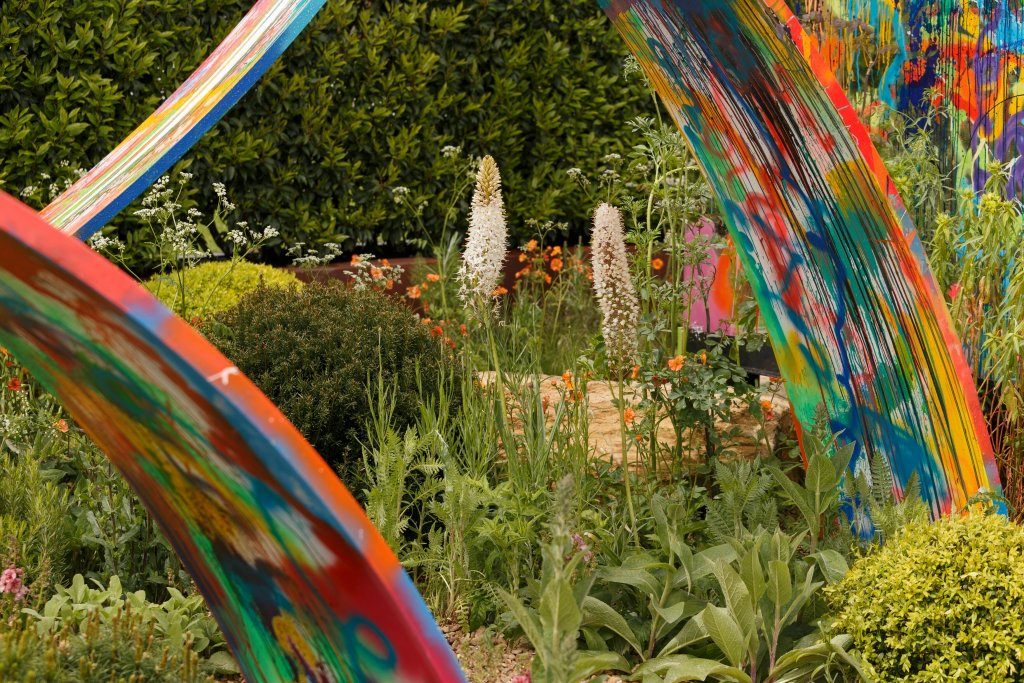 What if show garden in support of Rees Foundation. Designed by Sebastian Conrad and Kate Rees. RHS Malvern Spring Festival 2019.