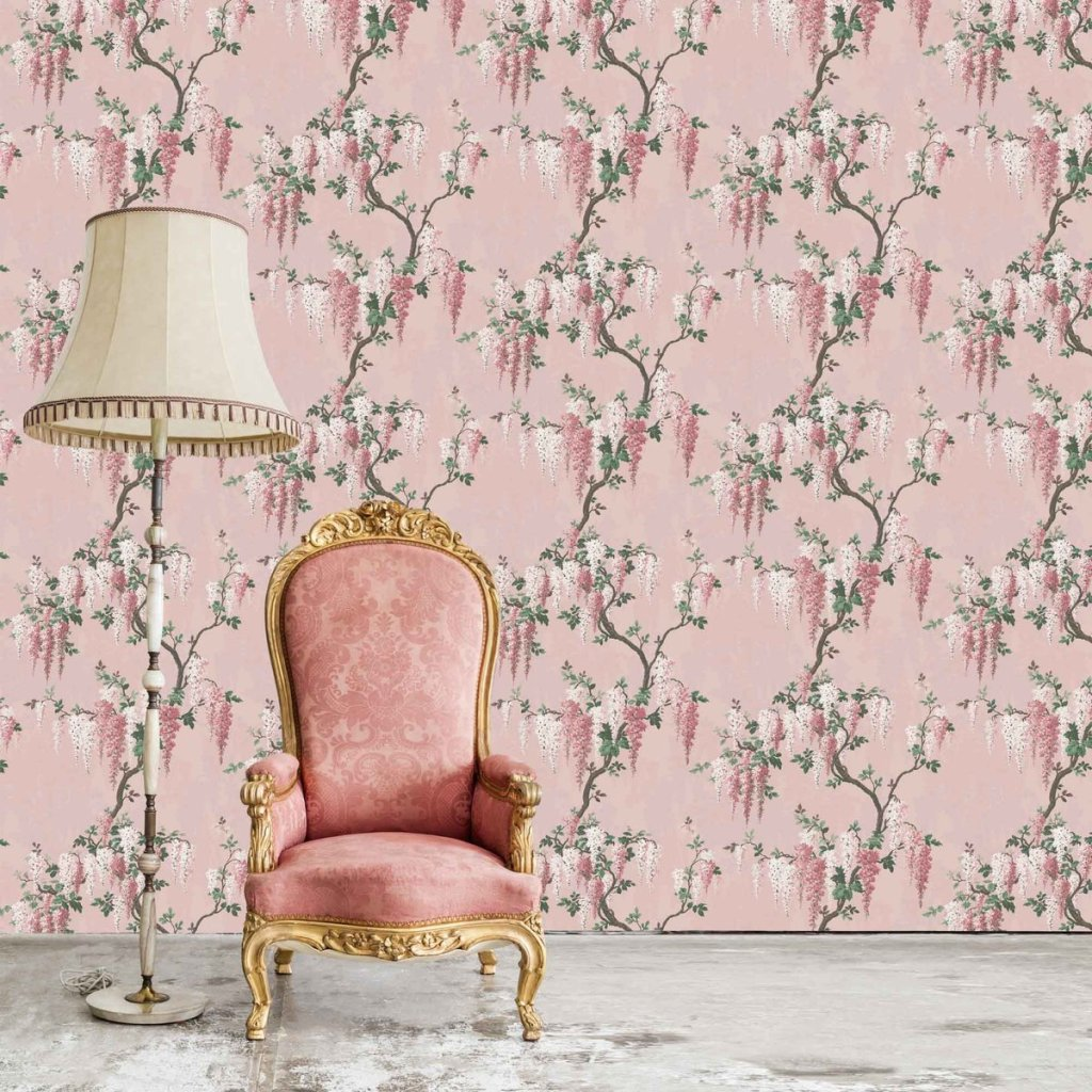 Add a touch of spring to your home decor with this stunning floral Wisteria wallpaper design