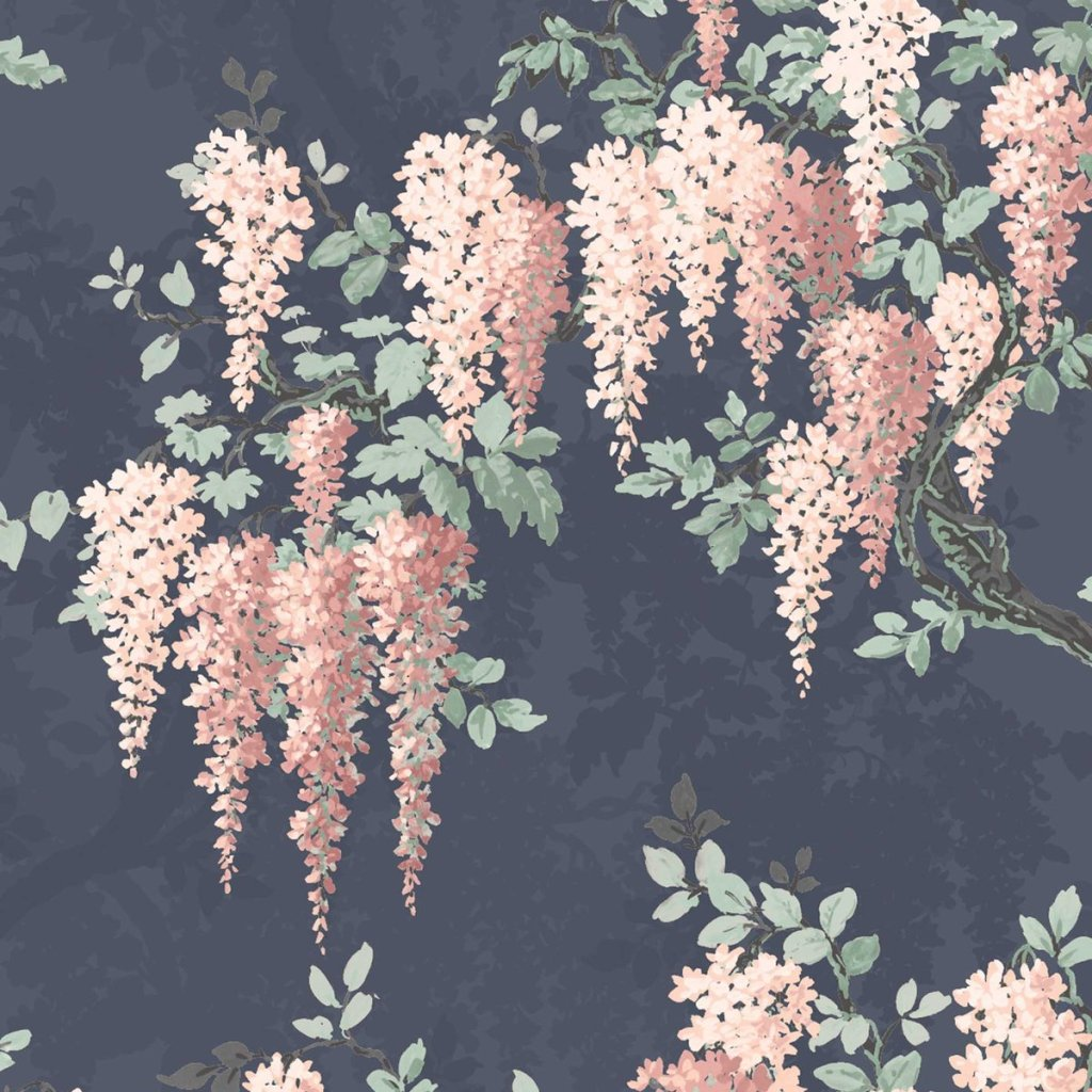 Gorgeous wisteria tree wallpaper in midnight mint
