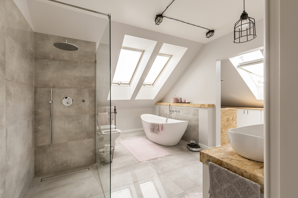 Stunning contemporary loft conversion bathroom with dormer style window