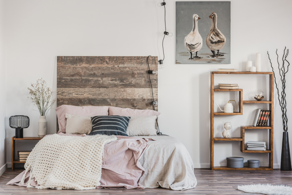 The modern country chic style works well as a bedroom interior design scheme