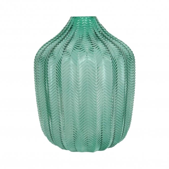 Chevron design glass vase in A.I. Aqua colour