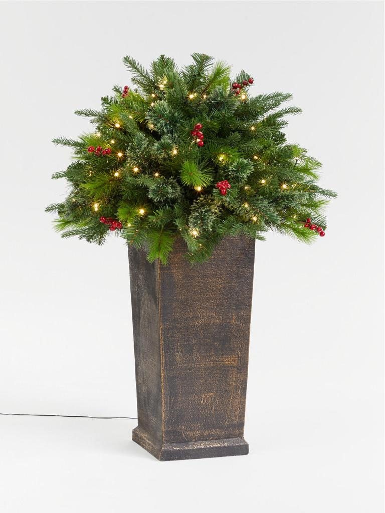 Artificial berry potted pre-lit Christmas tree bush