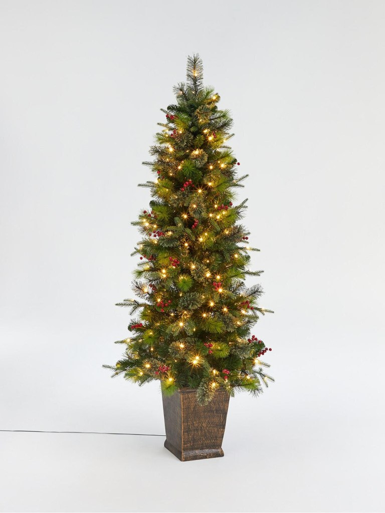 Use this potted berry and pinecone Christmas tree to decorate outside your front door for Christmas