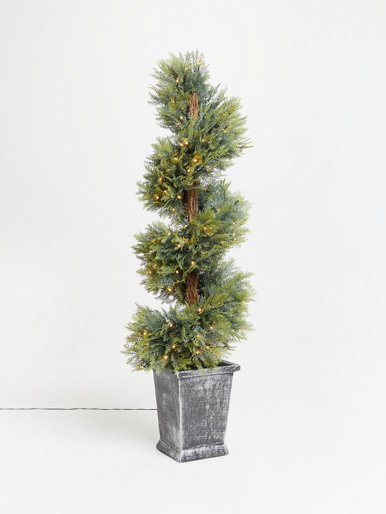 Unusual pre-lit potted topiary Christmas tree for indoor or outdoor use