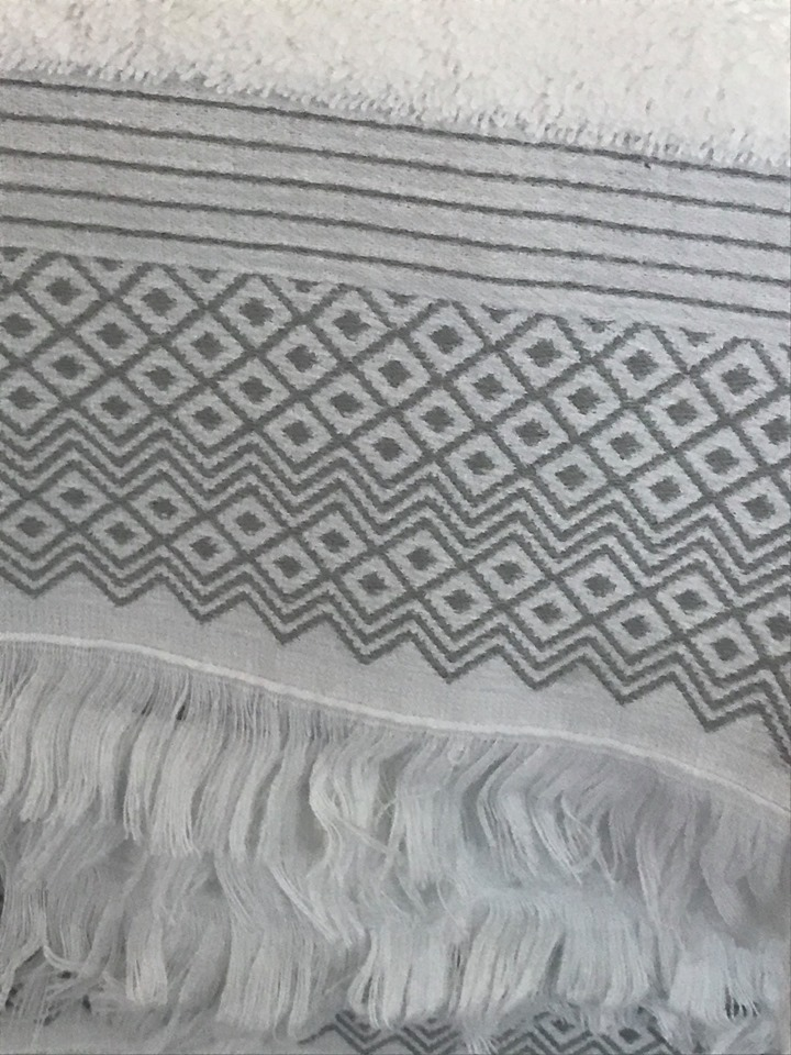 Close up of the diamond pattern on the luxury jacquard towels from Allure