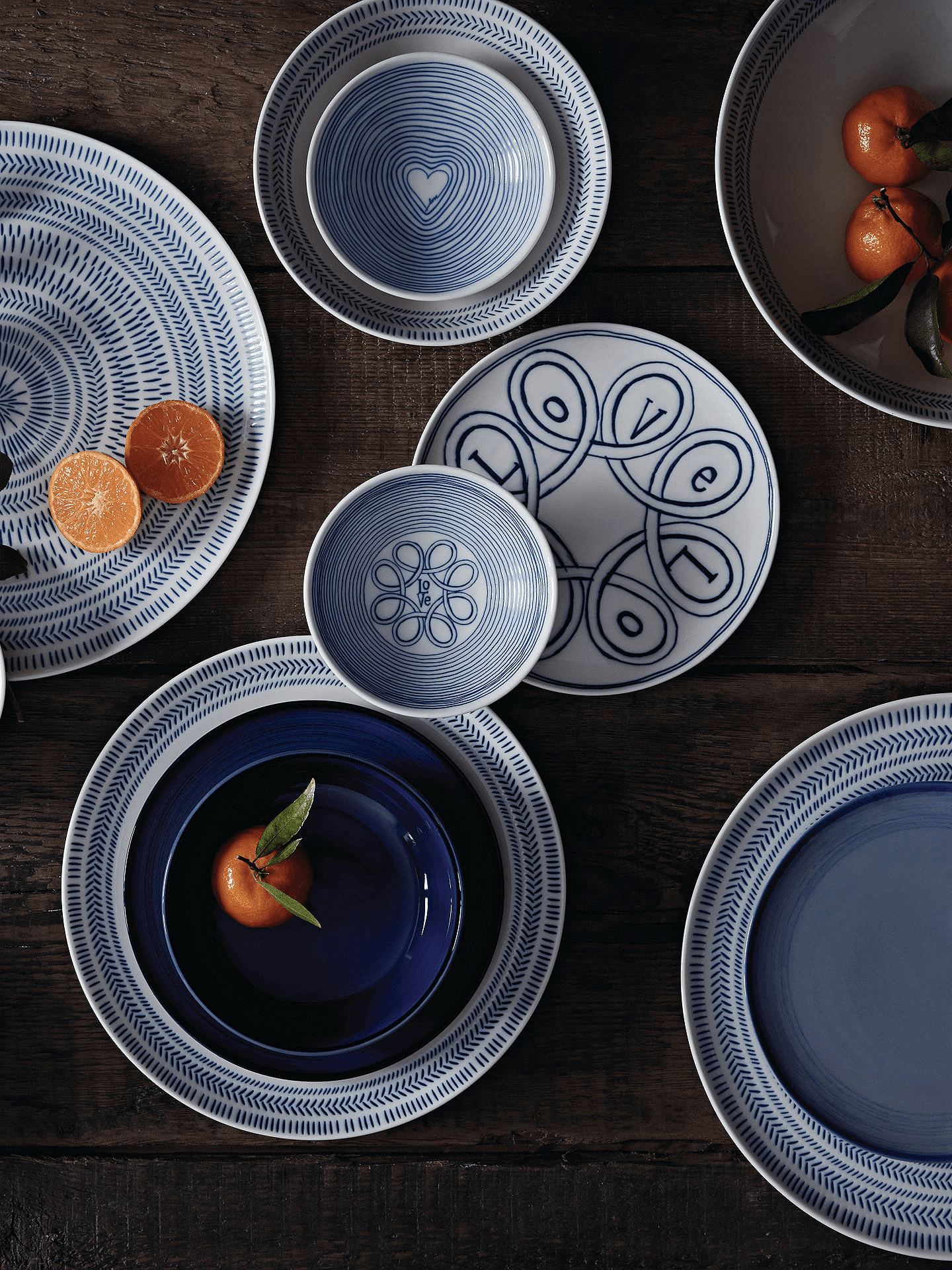 Fresh blue tableware plates from the ED Ellen DeGeneres Love collection for Royal Doulton