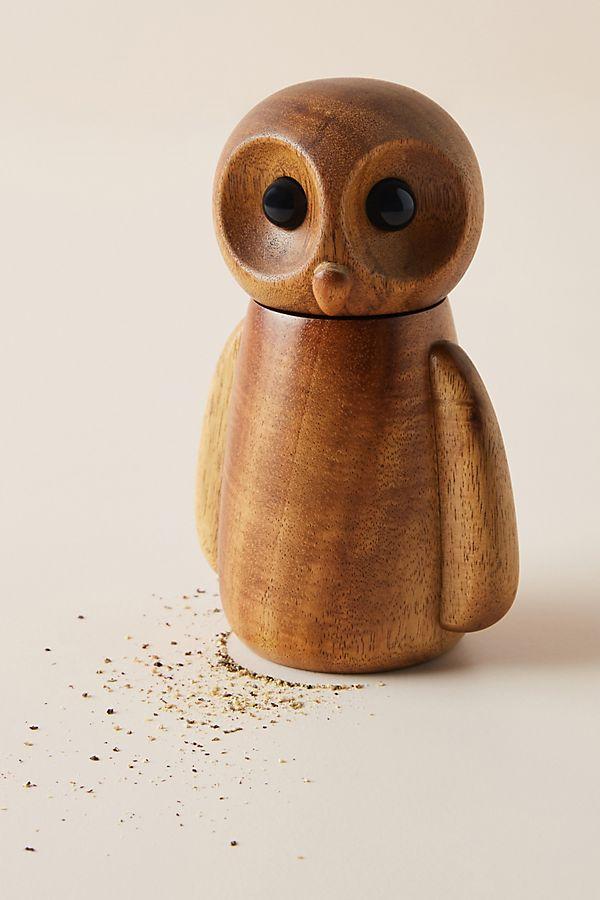 Handcarved wooden owl design pepper grinder - one of many fresh new finds from Fresh Design Blog