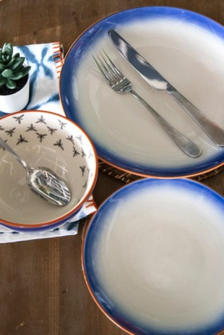 Love this Mikasa fresh blue tableware set - the terracotta rim is very Mediterranean in style