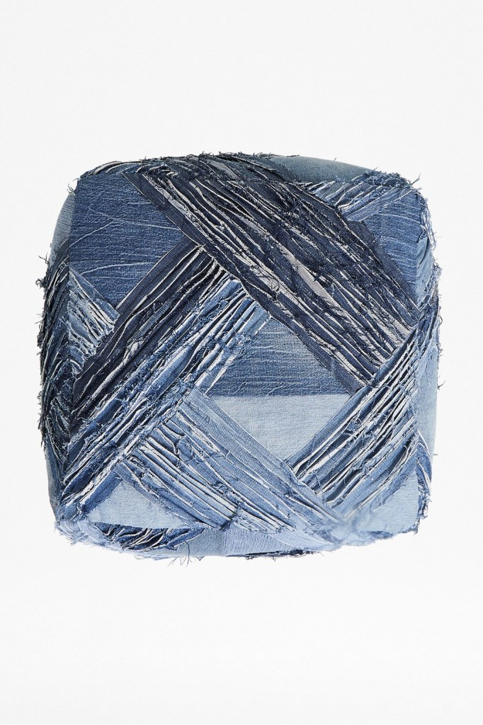 Lovely handmade recycled denim pouffe seat