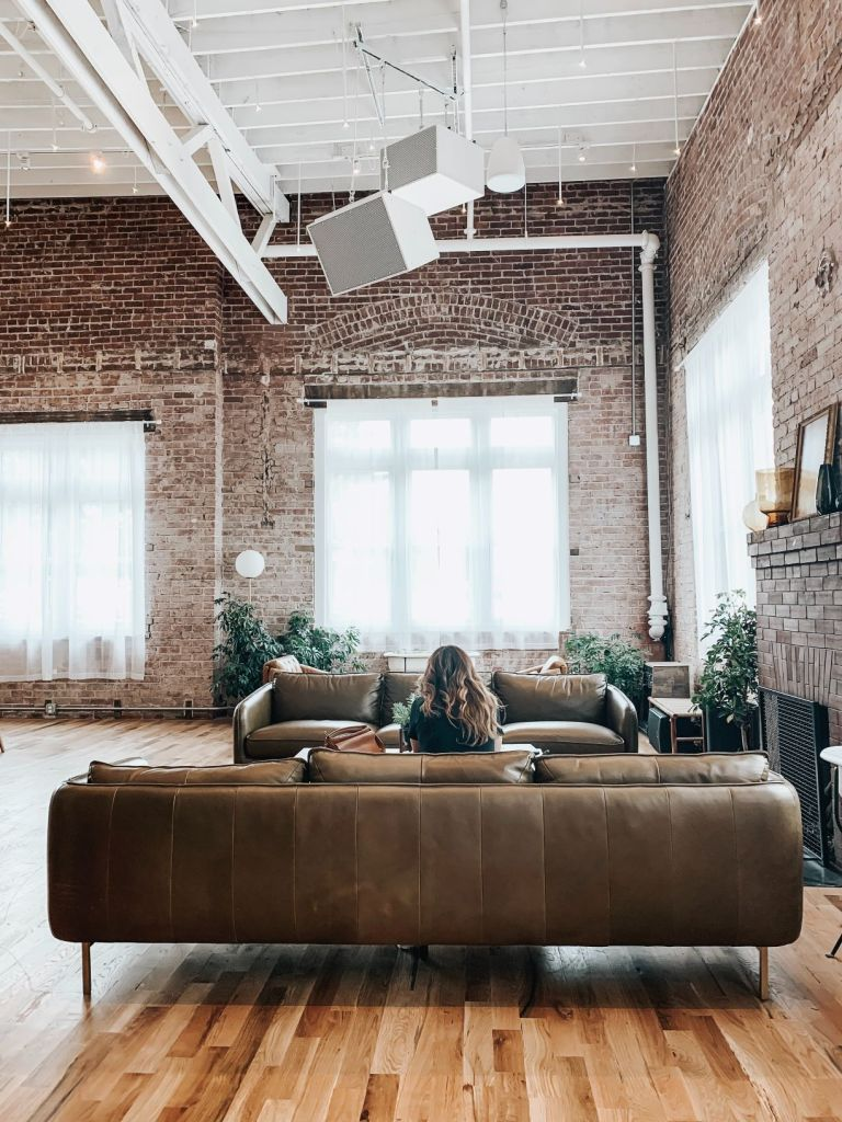Exposed brickwork is a key design element in New York loft style design