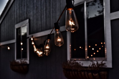 Hang rope lights in your garden for interest
