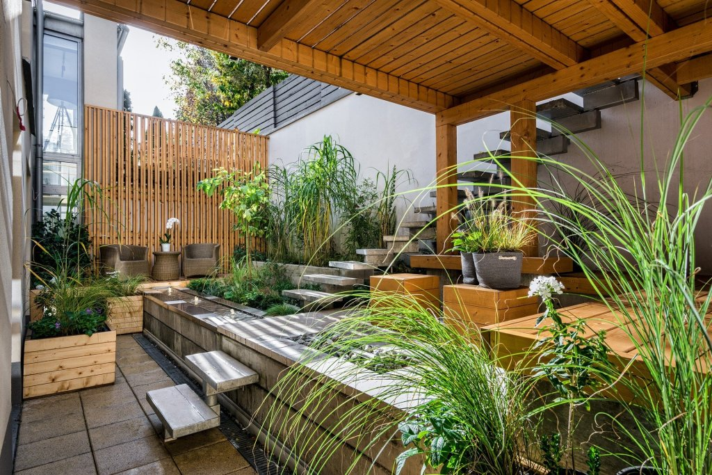 Contemporary garden with plenty of shade and green plants