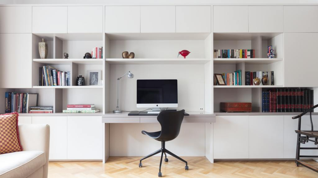 Useful built in storage units for an office