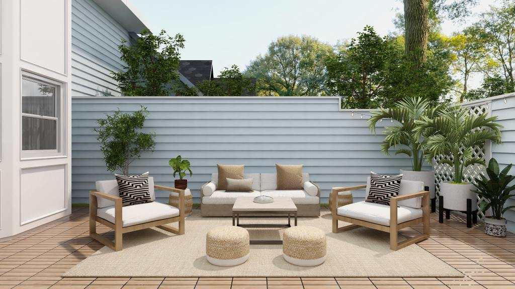 Practical contemporary outdoor living area in the garden that's an extension of the home