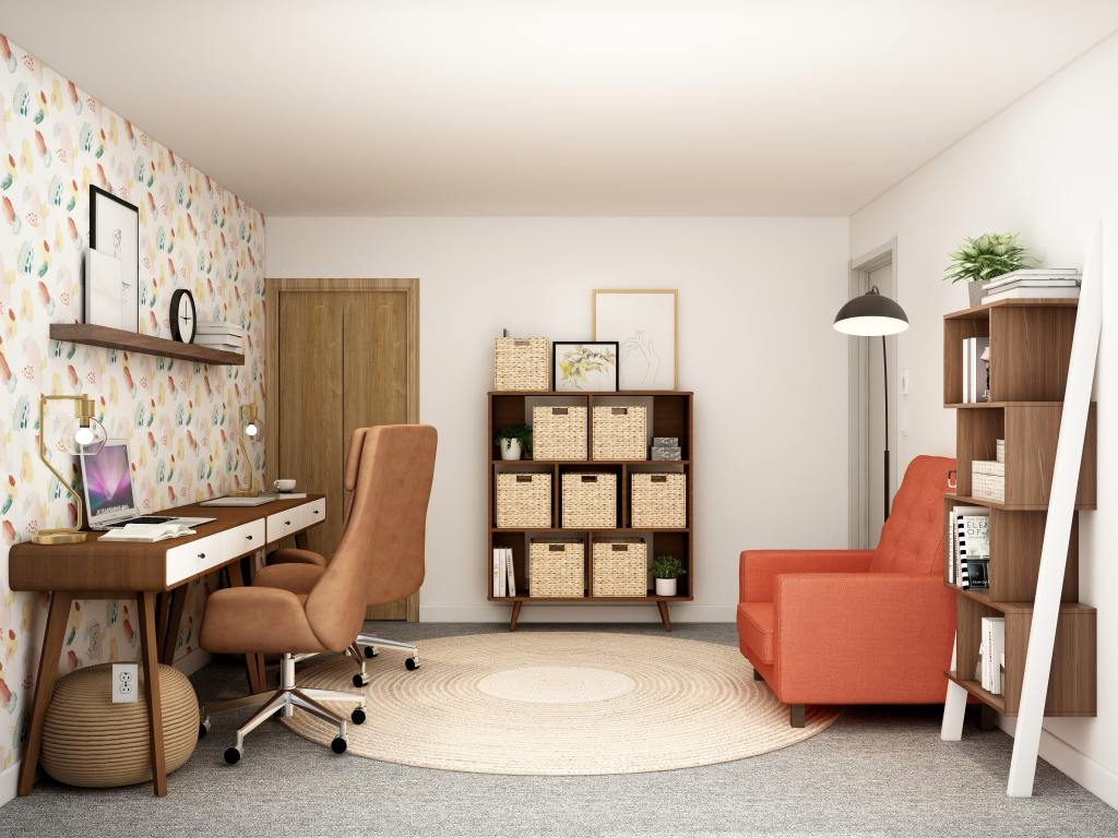 Old basement converted into a functional home office or study area
