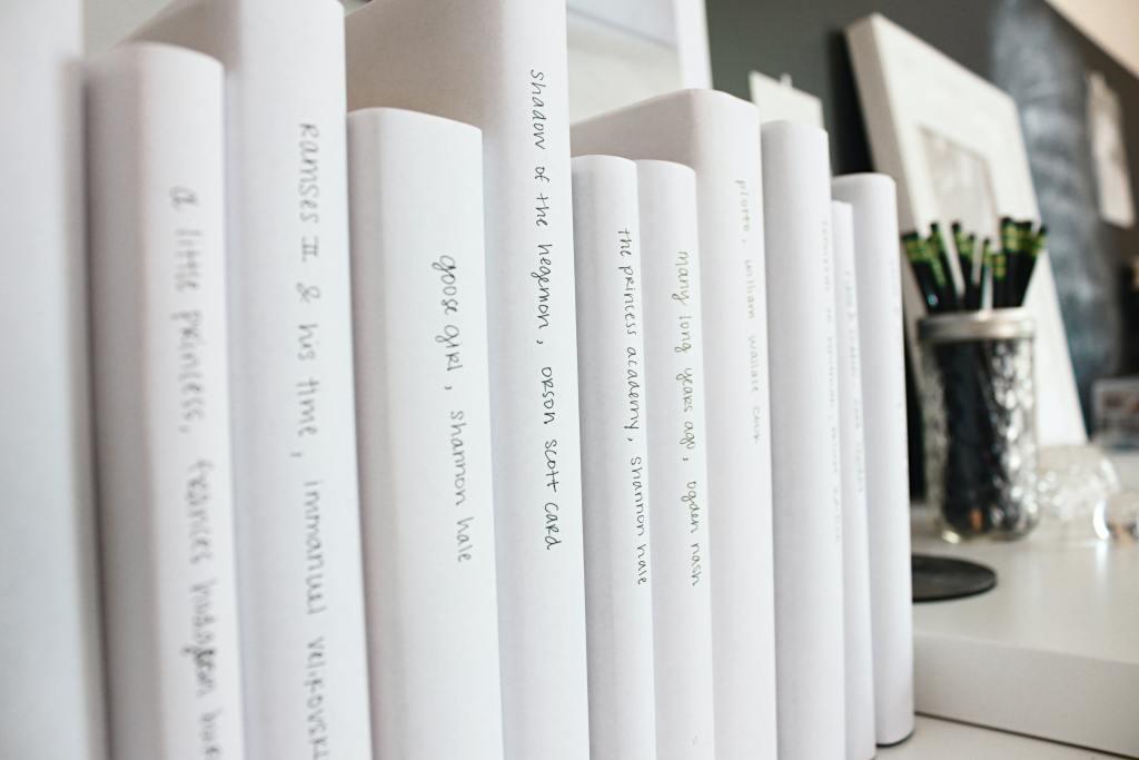 Nice white organised books on a shelf