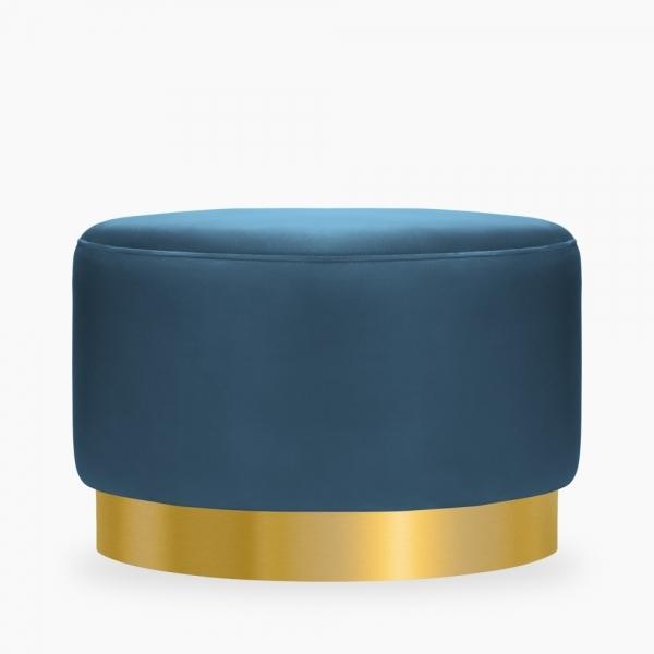Marie footstool in midnight blue velvet and brass