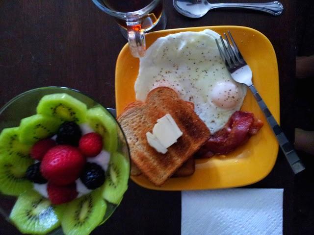 fruit parfait toast eggs breakfast