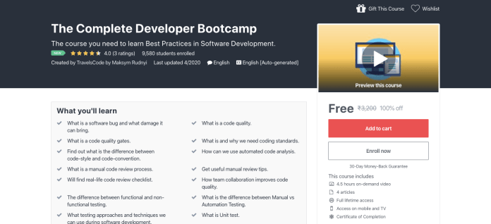 Free Complete Developer Bootcamp Certification Course