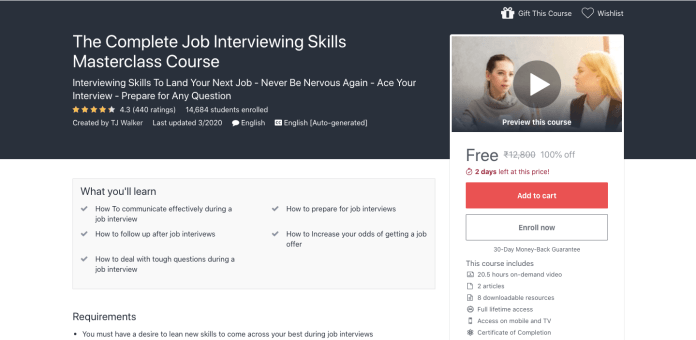 Free Complete Job Interviewing Skills Masterclass Certification Course