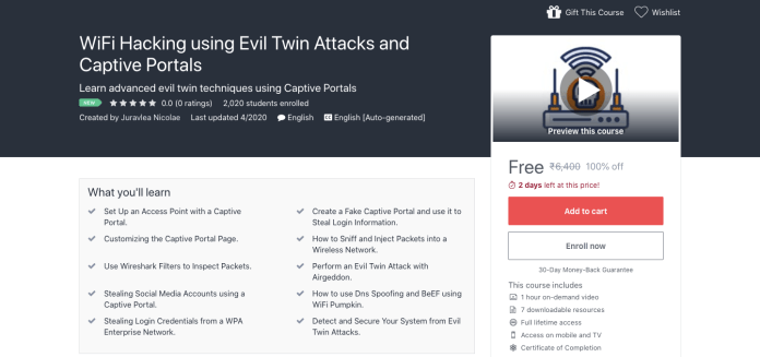 WiFi Hacking using Evil Twin Attacks and Captive Portals Course
