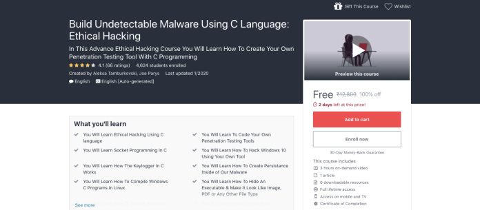Build Undetectable Malware Using C Language: Ethical Hacking Course