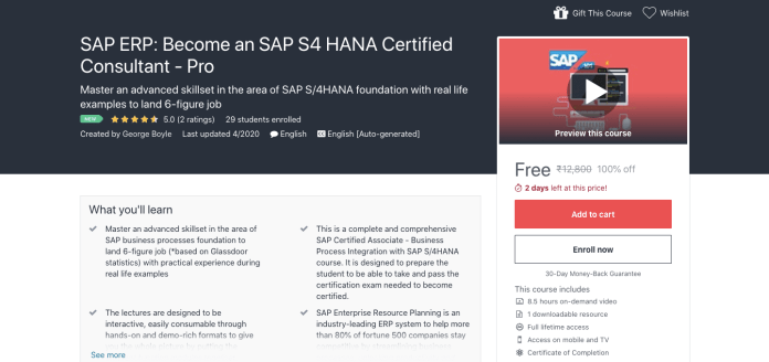 SAP ERP: Become an SAP S4 HANA Certified Consultant - Pro